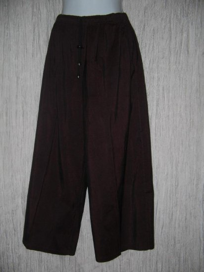 FLAX by Jeanne Engelhart Burgundy Silk Flex Floods Pants Small S