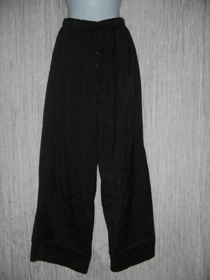 FLAX by Jeanne Engelhart Black Silk Flex Floors Pants Small S
