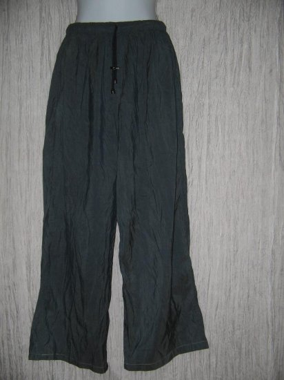 FLAX by Jeanne Engelhart Blue Silk Flex Floods Pants Small S