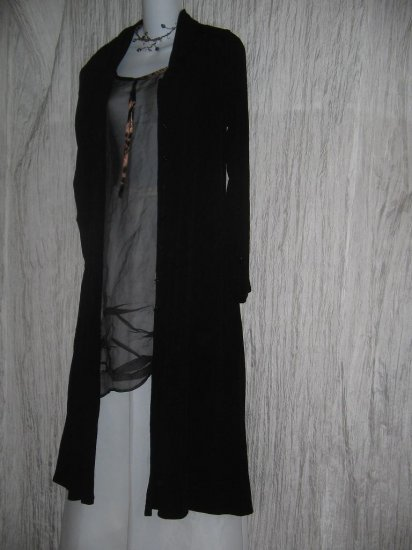 FLAX by Jeanne Engelhart Long Shapely Black Duster Jacket Petite P