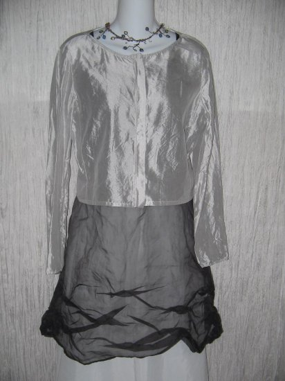 Coveted Boutique Ethereal Silvery Gray Zipped Jacket Small S