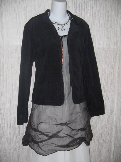 NY & Company Black Cotton Velour Tunic Jacket Top Size 14
