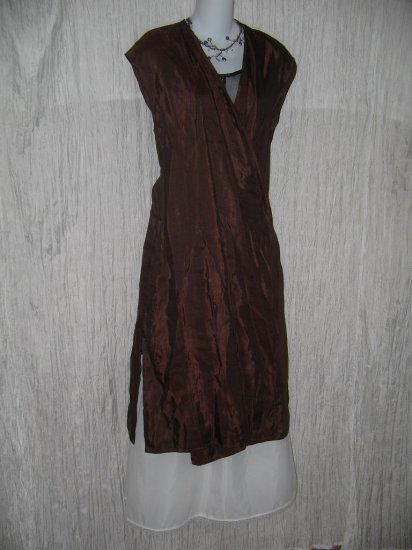 Terracotta Long Chocolate Bronze Viscose Linen Wrapped Duster Jacket L XL