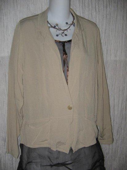 FLAX by Jeanne Engelhart Shapely Rayon Peplum Jacket Shirt Top Petite P