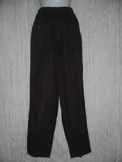 CUT LOOSE Long Chocolate Bown Velvet Trim Linen Pants Medium M