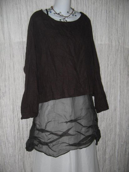 bryn Walker Loose Chocolate Brown Linen Lagenlook Tunic Top Large L