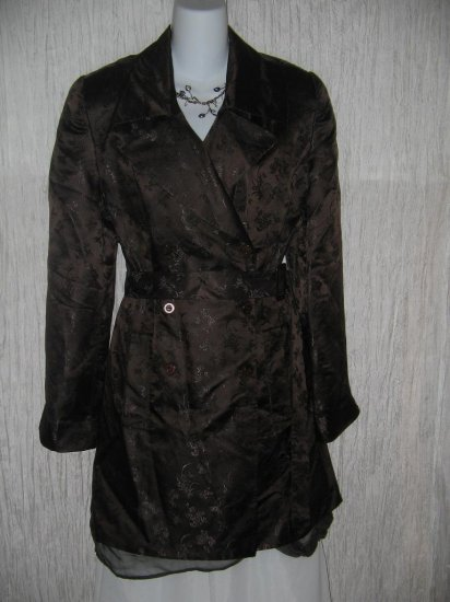 DANA BUCHMAN Long Elegant Chocolate Silk Brocade Belted Coat Jacket 12