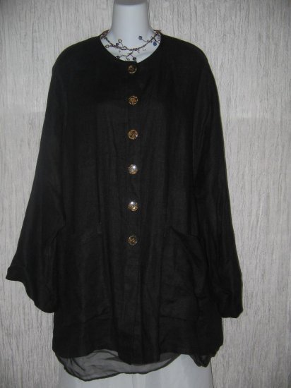 go lightly Long Black Linen Button Jacket Tunic Top One Size OS