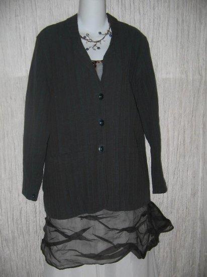 FLAX Jewel Blue Jacket Tunic Top Jeanne Engelhart Small S