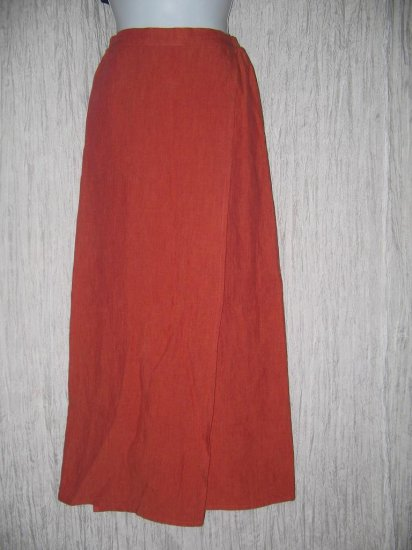 eskandar Neiman Marcus Long Orange Red LINEN Faux Wrap Skirt Size 0 XS