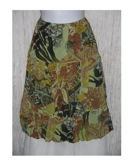 Abria Fluttery Green Geometric Floral Bubble Hem Skirt Medium M