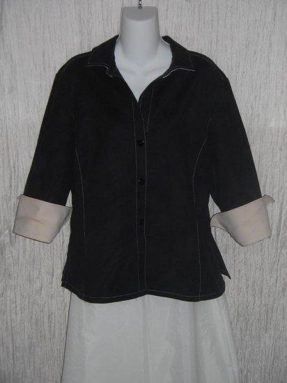 Linda Allard ELLEN TRACY Black & White Shapely Button Jacket Size 16