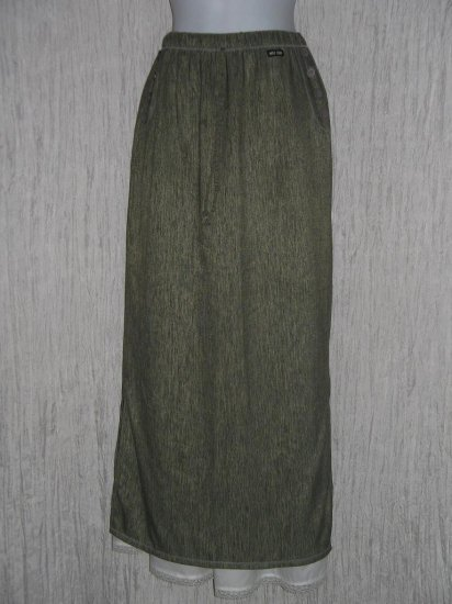MISS RUDY Long Earthy Striped Lagenlook Skirt M L