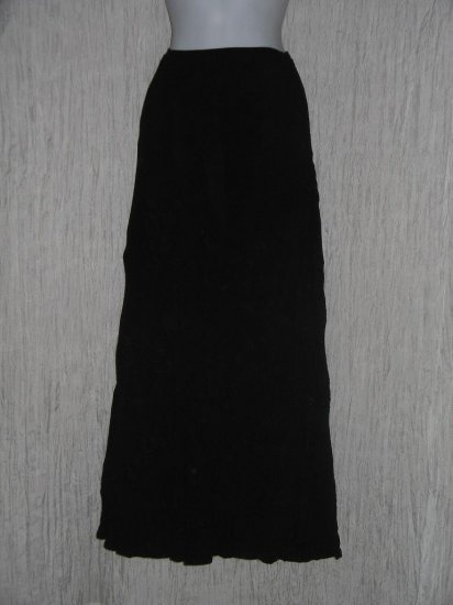 J. Jill Long & Full Black Embroidered Rayon Skirt Size 12