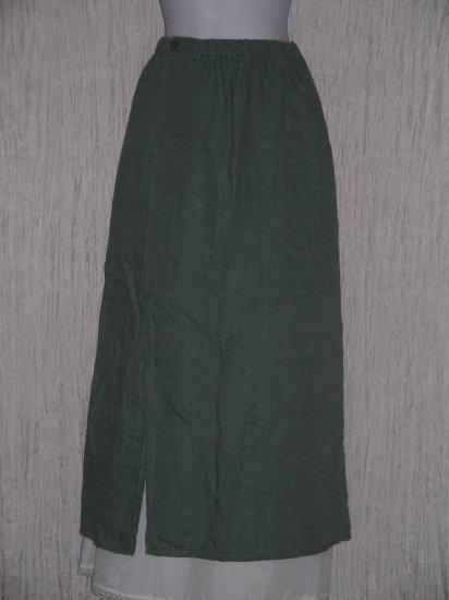 FLAX by Jeanne Engelhart Assymetrical Green LINEN Skirt Petite P