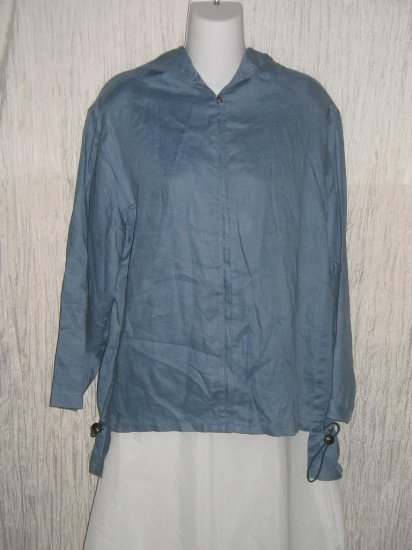 MAX STUDIO Long Blue Linen Hooded Zipper Jacket Medium M
