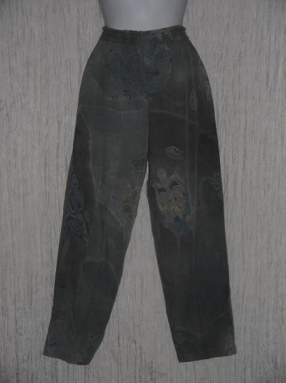 KUSNADI Long Loose Blue Gray Rayon Batik Pants M L