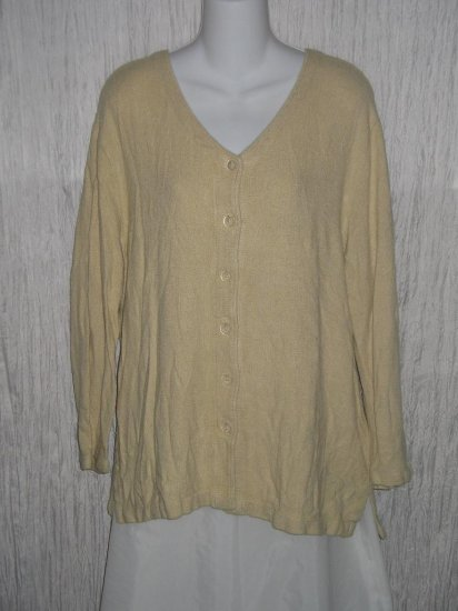 CUT LOOSE Soft Earthy Beige Rayon & Flax Button Tunic Top Shirt Small S