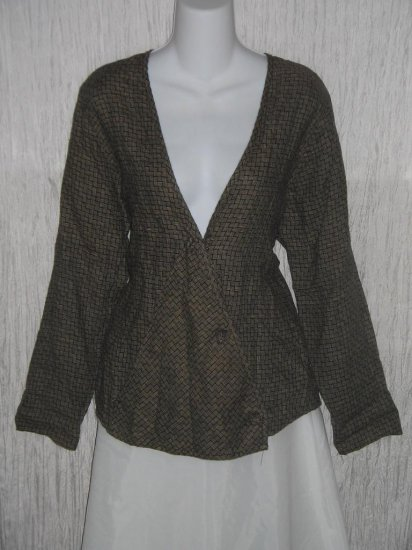FLAX Jeanne Engelhart Linen Wrapped Knot Jacket Top Petite P