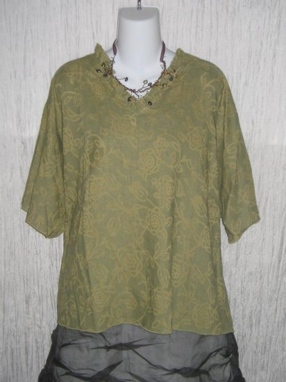 HOLTE Subtle Floral Linen Blend Pullover Shirt Tunic Top OS