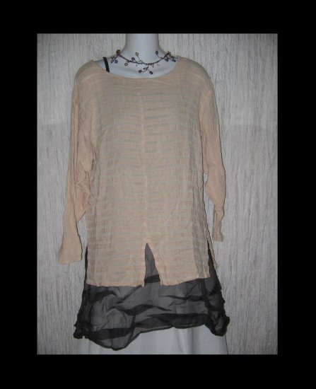 c WALL Gauzy Striped Rayon Pullover Shirt Tunic Top Size 1 S M