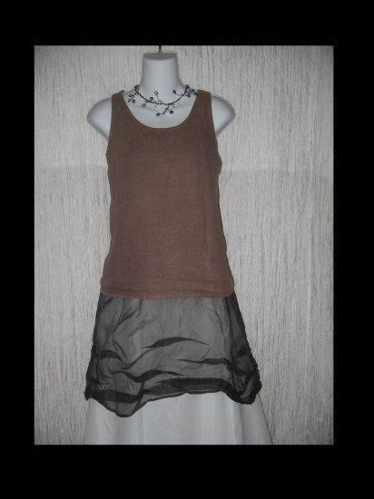 WILLOW Brown Linen Tunic Tank Top Shirt X-Large XL
