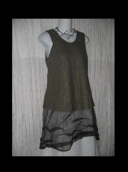 FLAX Jeanne Engelhart Linen Bias Tank Top Tunic Shirt Small S