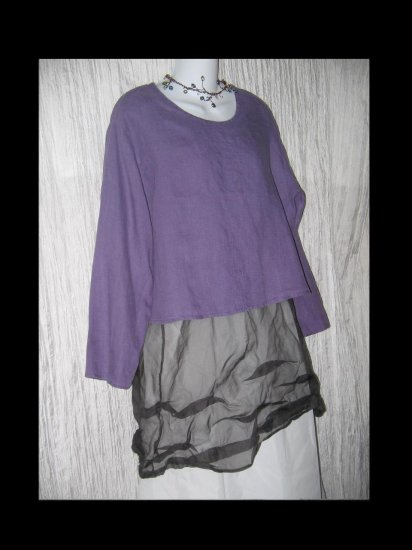 FLAX by Jeanne Engelhart Purple Linen Pullover Shirt Tunic Top Medium M