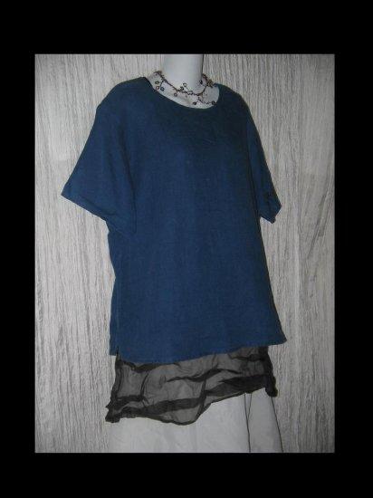 FLAX Jeanne Engelhart Blue Linen Pullover Shirt Tunic Top Small S