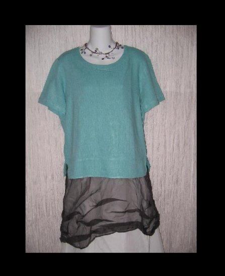 Basic Threads Teal Blue Linen Pullover Shirt Tunic Top Small S