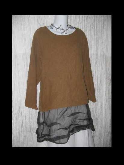 Jalan Jalan Earthy Brown Woven Cotton Tunic Top Shirt Medium M