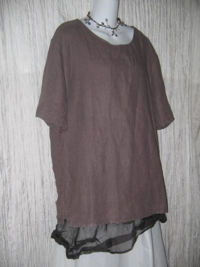 Cut Loose Purple Linen Pullover Shirt Tunic Top Large L