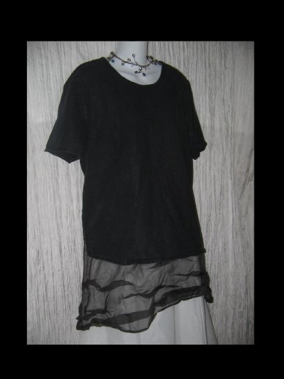 FLAX Jeanne Engelhart Black Linen Tunic Top Shirt Medium M