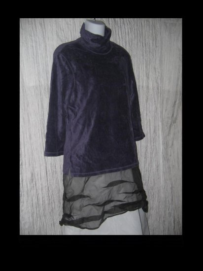 J. Jill Stretch Soft Purple Velour Turtleneck Tunic Top Shirt Medium M