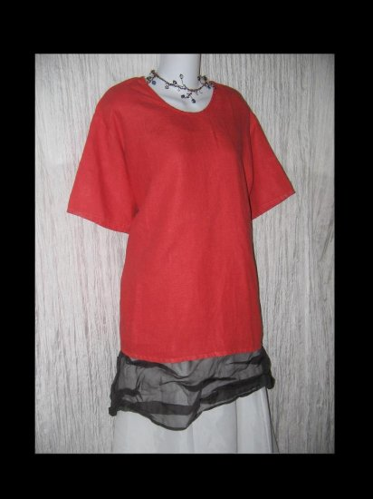 FLAX Red Linen Pullover Shirt Tunic Top Jeanne Engelhart Large L