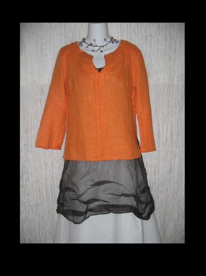 Harve Bernard Holtzman Orange Linen Pullover Shirt Tunic Top Small S