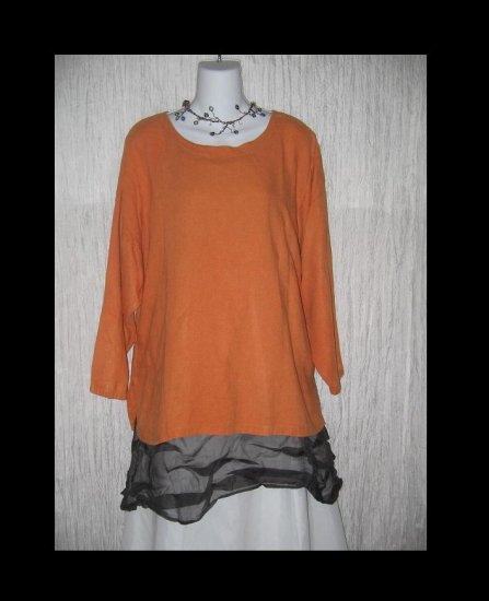 EILEEN FISHER NY Orange Linen Pullover Shirt Tunic Top 2 M L