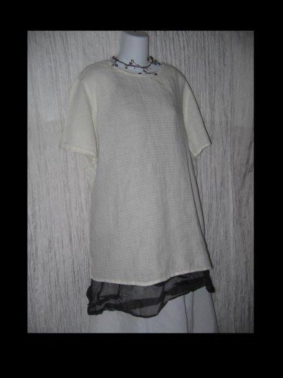 FLAX by Jeanne Engelhart Soft White Waves Linen Tunic Top Shirt Medium M