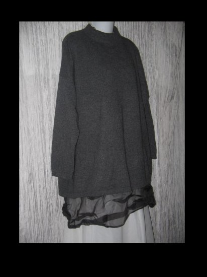 J. Jill Soft Gray 100% Cashmere Lagenlook Tunic Sweater One Size OS