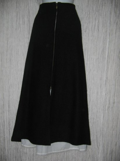 CoVelo Clothing Long Lined Black Boiled Wool Zipper Skirt 14
