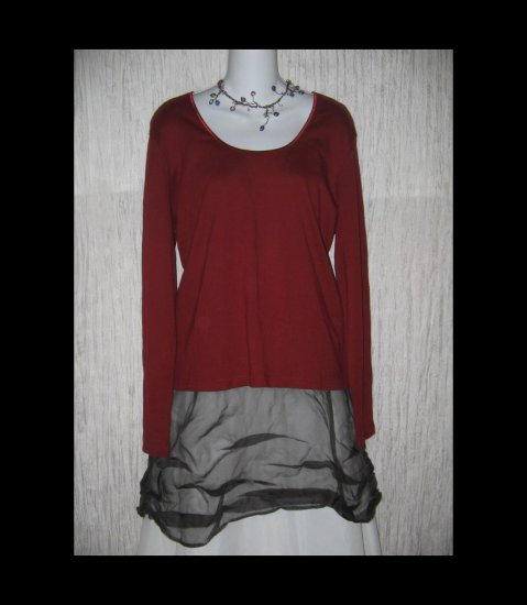 J. JILL Burgundy Cotton Knit Pullover Shirt Top X-Large XL