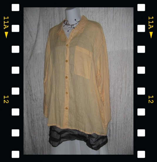 FLAX by Jeanne Engelhart Soft Yellow Linen Button Shirt Tunic Top Medium M