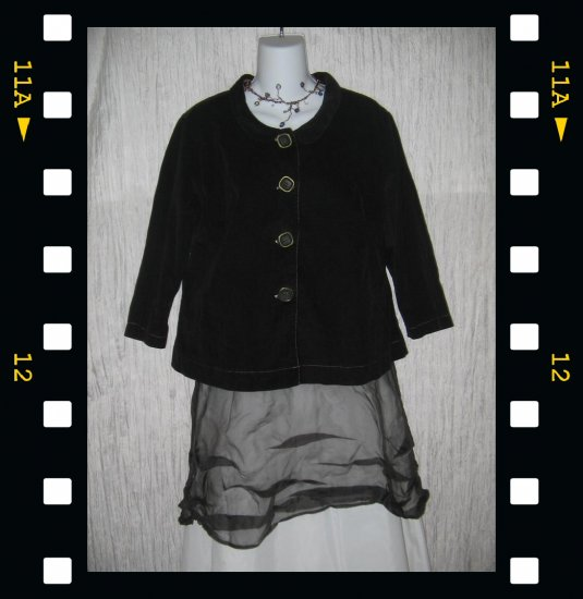 SOLITAIRE Velvety Black Featherwale Corduroy Cropped Jacket Top Large L
