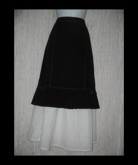 Solitaire Black Featherwale Corduroy Shapely Skirt Large L