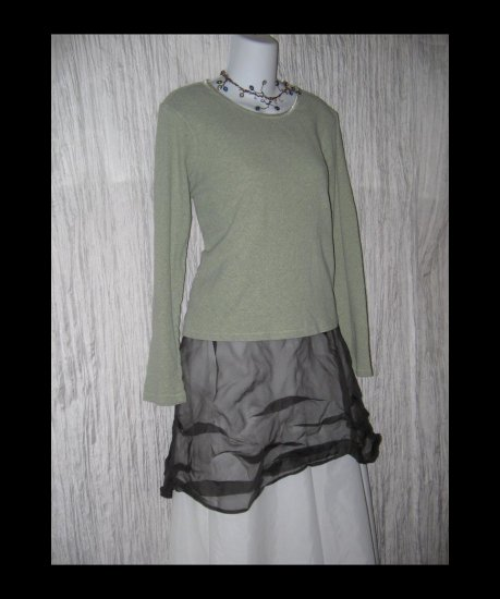 J. JILL Soft Green Cotton Knit Pullover Shirt Top Medium M