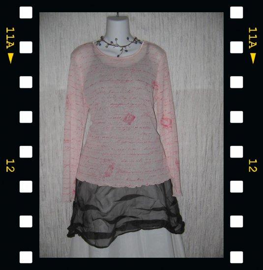 J. JILL Light Pink Script Pullover Shirt Tunic Top Large L