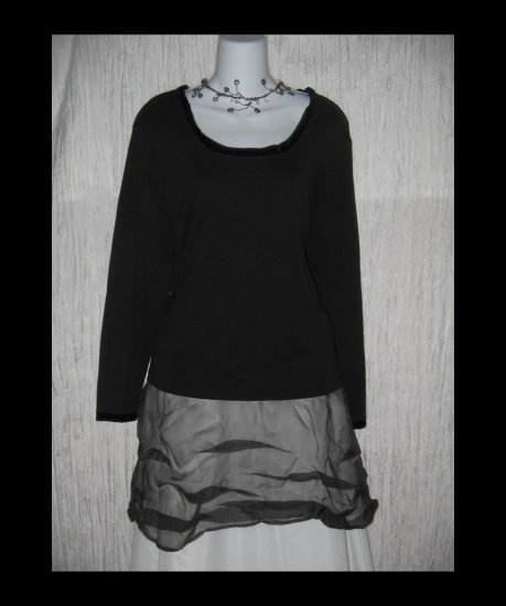 New J. JILL Black Velvet Trimmed Tee Pullover Shirt Top 2X