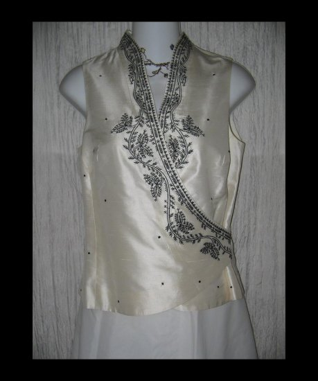 Ann Taylor Embroidered Silk Shapely Wrap Front Tunic Top Shirt 2