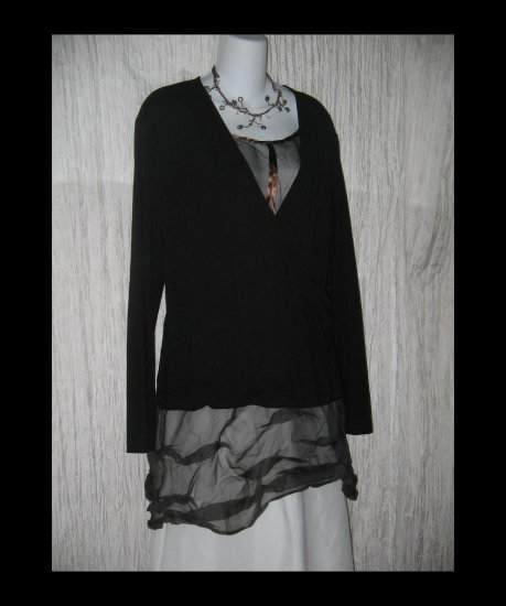 New J. Jill Soft Black Rayon Knit Wrapped Tunic Top Shirt X-Large XL