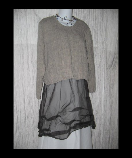 FLAX by Jeanne Engelhart Earthy Cropped Linen Pullover Shirt Tunic Top Small S
